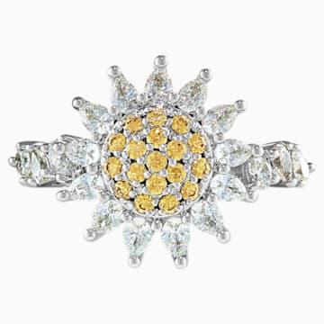 Botanical gyűrű, sárga, ródium bevonattal - Swarovski, 5536621