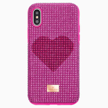 Crystalgram Heart Чехол для смартфона с противоударной защитой, iPhone® X/XS, Розовый Кристалл - Swarovski, 5536634