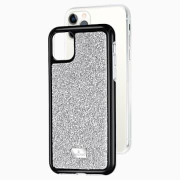 Custodia per smartphone con bordi protettivi Glam Rock, iPhone® 11 Pro Max, tono argentato - Swarovski, 5536650