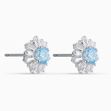 Sunshine Pierced Earrings, Blue, Rhodium plated - Swarovski, 5536741