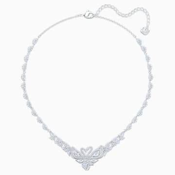 Dancing Swan 项链, 白色, 镀铑 - Swarovski, 5536766
