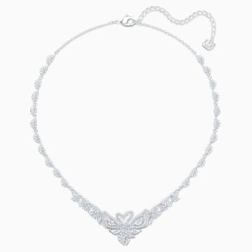 Dancing Swan Necklace, White, Rhodium plated - Swarovski, 5536766
