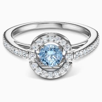 Bague Swarovski Sparkling Dance Round, aiguemarine turquoise, métal rhodié - Swarovski, 5537057