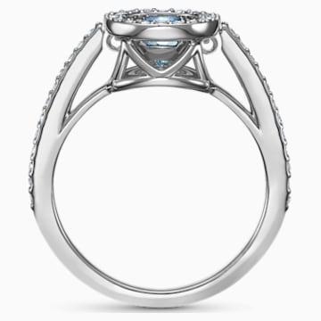 Swarovski Sparkling Dance Round Ring, Aqua, Rhodium plated - Swarovski, 5537057