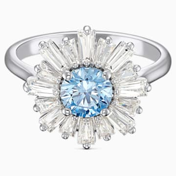 Sunshine-ring, Blauw, Rodium-verguld - Swarovski, 5537796