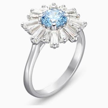 Sunshine-ring, Blauw, Rodium-verguld - Swarovski, 5537797