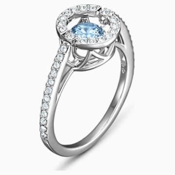 Bague Swarovski Sparkling Dance Round, aiguemarine turquoise, métal rhodié - Swarovski, 5537798