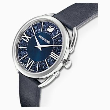 Crystalline Glam-horloge, Leren horlogebandje, Blauw, Roestvrij staal - Swarovski, 5537961