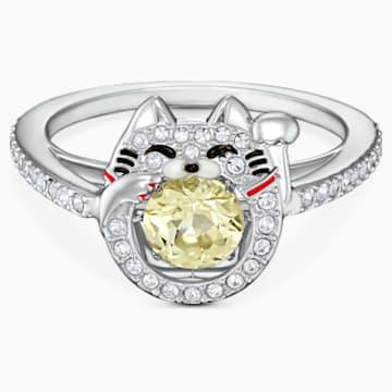 Swarovski Sparkling Dance Cat Ring, Light multi-coloured, Rhodium plated - Swarovski, 5538137