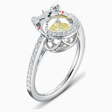 Swarovski Sparkling Dance Cat Ring, Light multi-coloured, Rhodium plated - Swarovski, 5538139