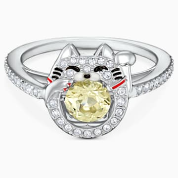 Swarovski Sparkling Dance Cat Ring, Light multi-colored, Rhodium plated - Swarovski, 5538140