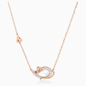 鼠你当红18K玫瑰金乳白水晶钻石项链 - Swarovski, 5538172