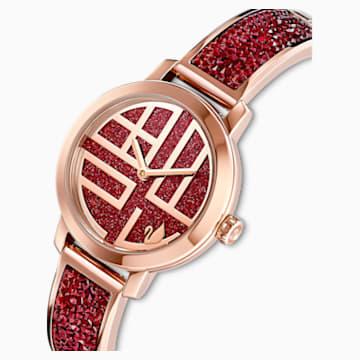 Cosmic Rock Watch, Metal bracelet, Red, Rose-gold tone PVD - Swarovski, 5538456