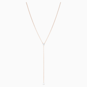 Collar en Y Attract Soul, blanco, baño tono oro rosa - Swarovski, 5539007