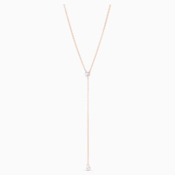 Attract Soul-Y-vormige ketting, Wit, Roségoudkleurige toplaag - Swarovski, 5539007