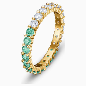 Vittore Half 戒指, 綠色, 鍍金色色調 - Swarovski, 5539748