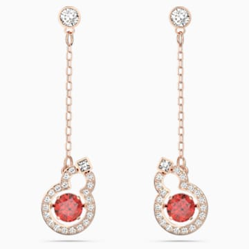 Full Blessing Hulu 穿孔耳环, 红色, 镀玫瑰金色调 - Swarovski, 5539895