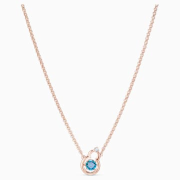 Full Blessing Hulu Necklace, Blue, Rose-gold tone plated - Swarovski, 5539906