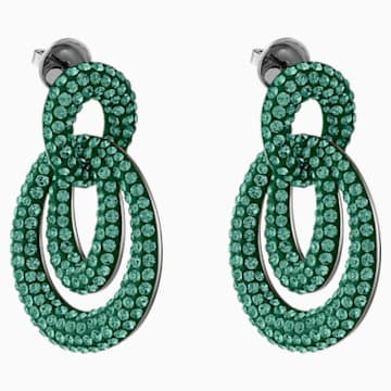 Tigris Pierced Earrings, Green, Ruthenium plated - Swarovski, 5540373