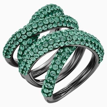 Tigris Wide Ring, Green, Ruthenium plated - Swarovski, 5540376