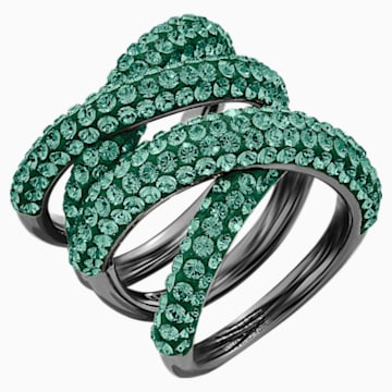 Tigris Wide Ring, Green, Ruthenium plated - Swarovski, 5540378
