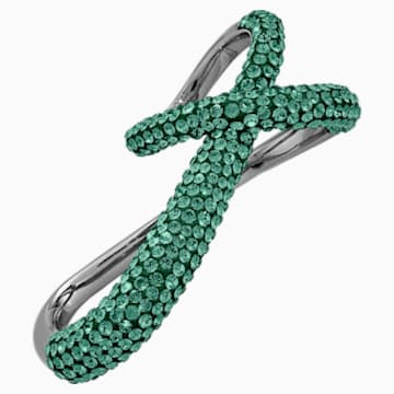 Bague double Tigris, vert, métal plaqué ruthénium - Swarovski, 5540382