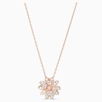 Přívěsek Eternal Flower, růžový, pozlacený růžovým zlatem - Swarovski, 5540973