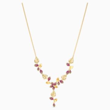 Collar en Y Tropical Flower, rosa, baño tono oro - Swarovski, 5541061