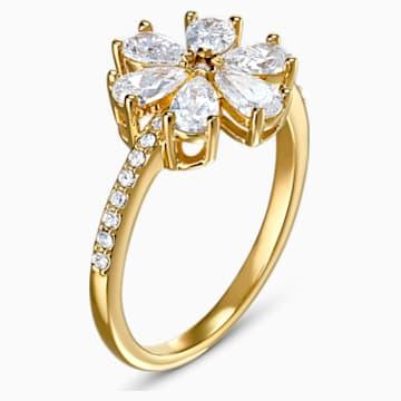 Botanical Flower 戒指, 白色, 鍍金色色調 - Swarovski, 5542531
