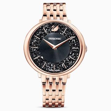 Crystalline Chic-horloge, Metalen armband, Zwart, Roségoudkleurig PVD - Swarovski, 5544587
