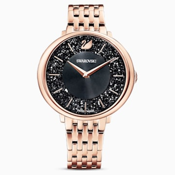 Crystalline Chic Watch, Metal bracelet, Black, Rose-gold tone PVD - Swarovski, 5544587