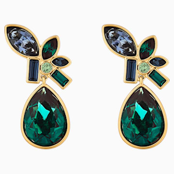 Beautiful Earth Drop Pierced Earrings, Multicolored, Gold-tone plated - Swarovski, 5545990