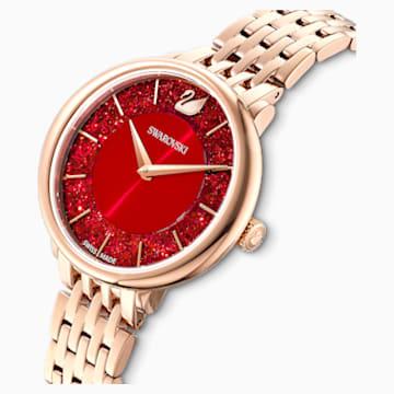 Hodinky Crystalline Chic s kovovým páskem červené, PVD v odstínu růžového zlata - Swarovski, 5547608