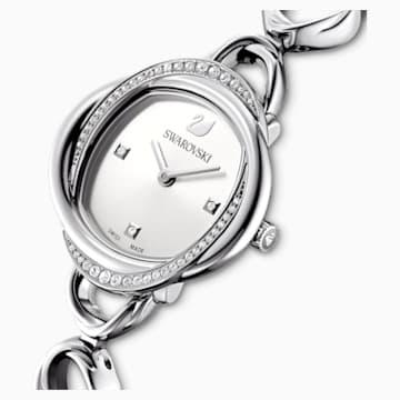 Ceas Crystal Flower, brățară de metal, nuanță argintie, oțel inoxidabil - Swarovski, 5547622