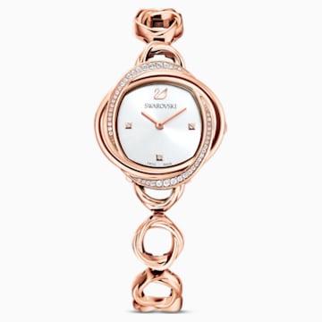 Ρολόι Crystal Flower, μεταλλικό μπρασελέ, χρυσή ροζ απόχρωση, PVD σε χρυσή-ροζ απόχρωση - Swarovski, 5547626