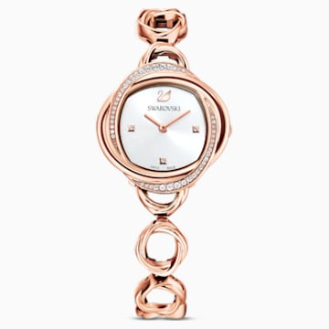 Crystal Flower 腕表, 金属手链, 玫瑰金色调, 玫瑰金色调 PVD - Swarovski, 5547626