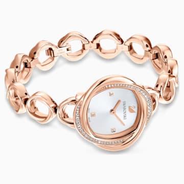 Orologio Crystal Flower, bracciale di metallo, tono oro rosa, PVD oro rosa - Swarovski, 5547626