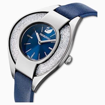 Montre Crystalline Sporty, bracelet en cuir, bleu, acier inoxydable - Swarovski, 5547629