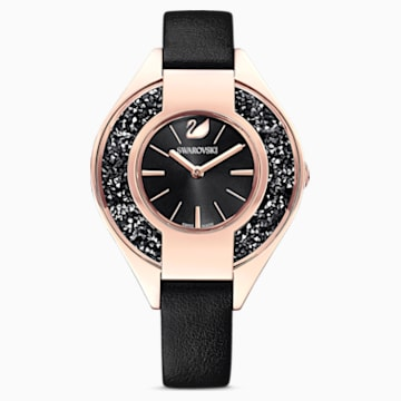 Crystalline Sporty Uhr, Lederarmband, schwarz, rosé vergoldetes PVD-Finish - Swarovski, 5547632