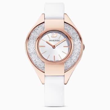 Crystalline Sporty-horloge, Leren horlogebandje, Wit, Roségoudkleurig PVD - Swarovski, 5547635
