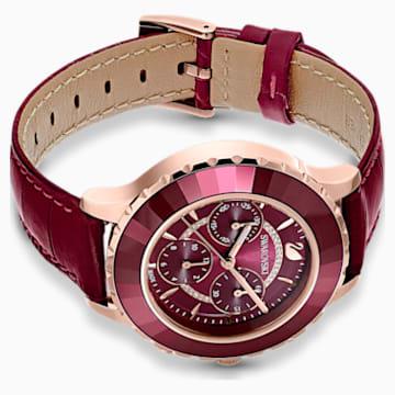 Hodinky s chronografem Octea Lux Chrono s koženým páskem, červené, PVD v odstínu růžového zlata - Swarovski, 5547642