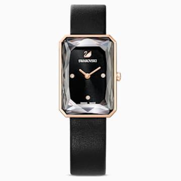 Uptown Saat, Deri kayış, Siyah, Pembe altın rengi PVD - Swarovski, 5547710