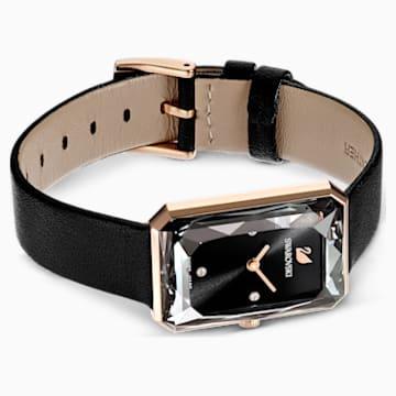 Hodinky Uptown s koženým páskem, černé, PVD v odstínu růžového zlata - Swarovski, 5547710