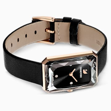 Uptown-horloge, Leren horlogebandje, Zwart, Roségoudkleurig PVD - Swarovski, 5547710