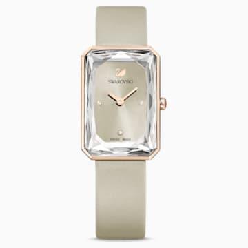 Uptown 手錶, 真皮錶帶, 灰色, 玫瑰金色調PVD - Swarovski, 5547716