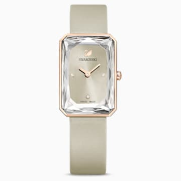 Uptown Watch, Leather strap, Gray, Rose-gold tone PVD - Swarovski, 5547716
