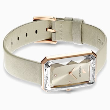 Uptown Watch, Leather strap, Grey, Rose-gold tone PVD - Swarovski, 5547716