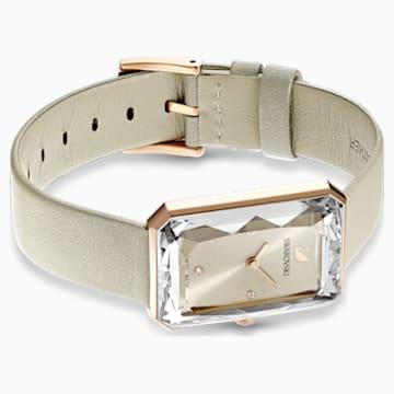 Uptown Watch, Leather strap, Grey, Rose-gold tone PVD - Swarovski, 5547716