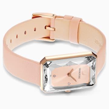 Hodinky Uptown s koženým páskem, růžové, PVD v odstínu růžového zlata - Swarovski, 5547719