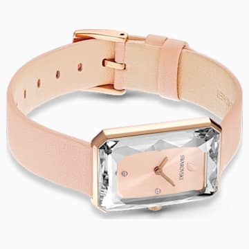 Uptown Uhr, Lederarmband, rosa, rosé vergoldetes PVD-Finish - Swarovski, 5547719
